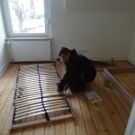 Ein Mitarbeiter baut ein Lattenrost auf einem Holzdielenboden auf.